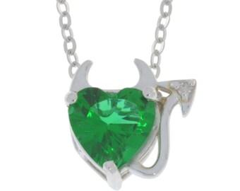 Emerald & Diamond Devil Heart Pendant .925 Sterling Silver