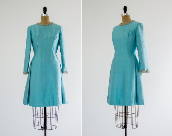 vintage silk 1960s party dress | 1960s formal cocktail dress