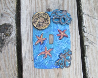 Octopus, Pirate, made to order, resin, Light switchplate cover, handmade, one of a kind, hand painted,