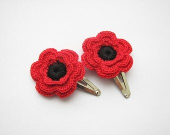 Flower hair clips, crochet red flowers, set of 2, Girls hair accessories