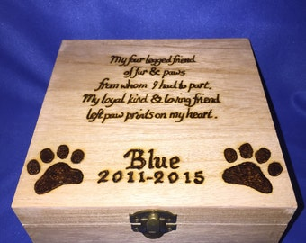 Wooden Pet Memorial Box