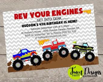 MONSTER TRUCK INVITATION, Monster Jam Birthday Invitation, Printable Monter Truck Invitation, Monster Truck Party, Monster Truck Chevron
