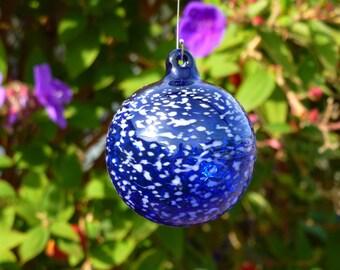 Cobalt Blue Handblown Glass Ornament with White Speckles