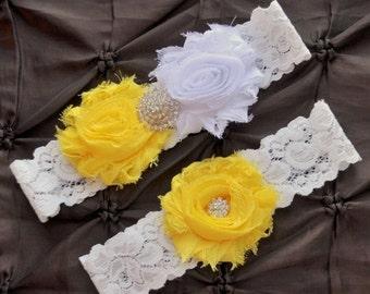 SALE Wedding Garter, Bridal Garter Set - White Lace Garter, Keepsake Garter, Toss Garter, Shabby Chiffon White Yellow Wedding Garter