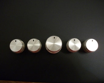 Free Shipping** Lot of Silver-tone Vintage Stereo Reciever Knobs for Replacement Upcycle DIY