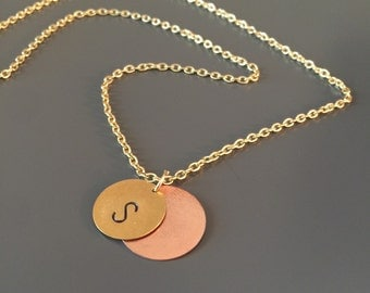Layered Initial necklace, Hand stamped layered necklace, Personalized jewelry, Mother's day gift, graduation gift