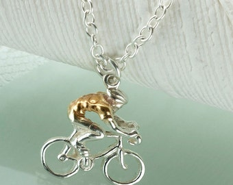 Cyclist Pendant in 18ct Gold on Sterling Silver.