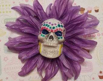 Sugar Skull Flower Clip, Hair Flower, Purple Flower, Hand Painted Skull, Dia De Los Muertos, Pastel Goth, Spooky Cute Hair Clip, Kawaii