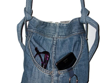 Repurposed Denim Handbag Purse Messenger Bag with Pockets and Adjustable Strap