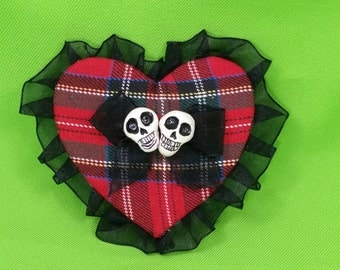 Plaid Heart clip fascinator