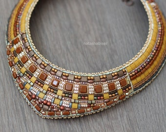 Necklace Bead Embroidery - beaded, beadwork, embroidered, beads, spun gold, orange, yellow, mustard, terracotta, ethnic
