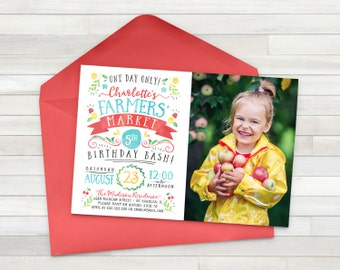 Vintage Farmers Market Birthday Invitation, Farm Party, Farmers Market Birthday, Farmers Market Party, Picnic Party - Digital File Only