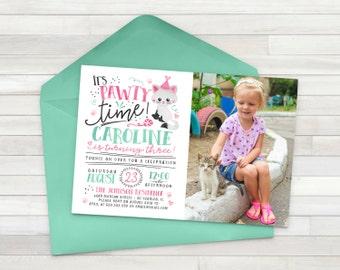 Kitten Birthday Invitation, Cat Birthday Invitation, Pet Birthday Invite, Kitty Birthday Invite - Printable
