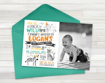 Boy Zoo Birthday Invitation, Wild Animal Birthday Party Invite, Giraffe Zebra Tiger Invite, Petting Zoo Invite - Digital File Only