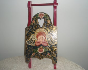 Hand painted Sled, Decorative Wood Angel Sled, Cottage Chic Sled with praying Angel and flowers, Christmas or winter decoration, 14 in. sled