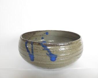 Ceramic bowl, salad bowl, wheel thrown, Ceramics and Potery, blue, brown