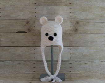 Polar Bear Hat - Bear Hat -Animal Hat - Baby Hat - Kids Hats - Adult Bear Hat - Winter Hat - Photo Prop - Fun Hat - Baby Shower Gift