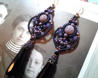 Bead woven earrings-Victorian,steampunk vintage Victoriana Long drop black and purple earrings Beautiful Vintage and new parts