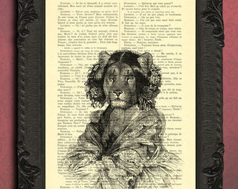 lioness illustration lioness print animals in clothes art print black and white lioness