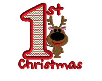 Embroidery Design, 1st Christmas Applique, Reindeer Design, Machine embroidery, Christmas embroidery, 2 size applique embroidery design