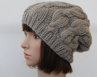 Chunky knit cable beanie in Clay/Slouchy Beanie/Knitted hat/Beanie hat