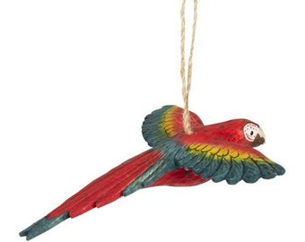 Macaw Flying Wooden Ornament Ideal Outdoor or Indoor