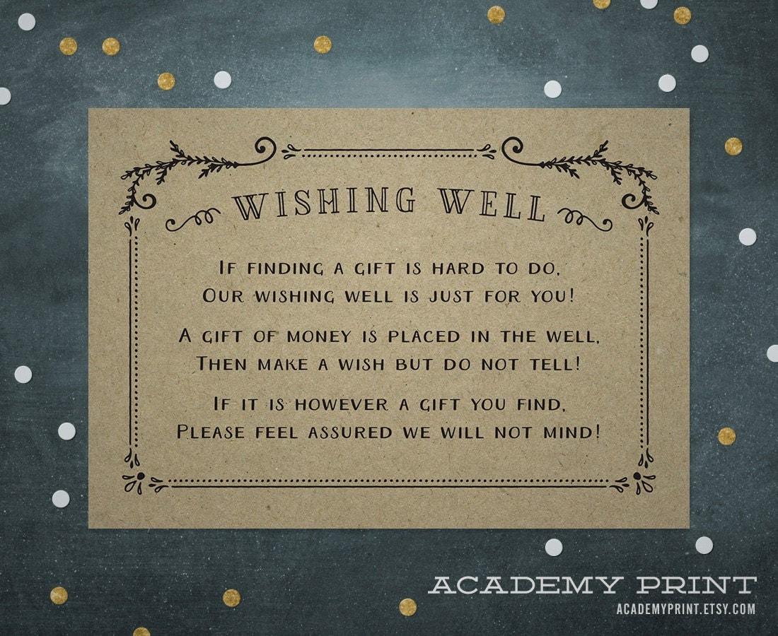 Kraft Wishing Well Wedding Invitation Insert Printable