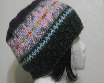 Winter Designed Hand Knit Adult Hat