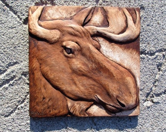 NEW!  Moose Portrait Wallsculpture Hand Cast and Painted  Nature picture Tile  Man Cave Gift Home Decor