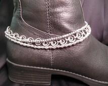 Silver Metal Multi Strand Boot Anklet Biker Boot Anklet Boot Bling