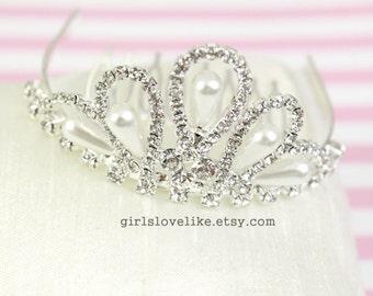 Rhinestone and Pearl Princess Crown Tiara Comb for Bridal Wedding Pagents ,Silver and Crystal Tiara, Mini Tiara