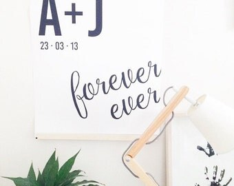 Wedding anniversary wall art - Forever ever - monochrome typographic