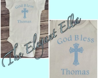Personalized christening baby one piece, baptism set for boy or girl