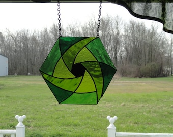 Four shades green stain glass