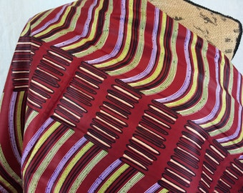 African Wax Print Fabric--Java Print Fabric--Maroon, Purple, and Olive Green Wavy Striped Print--African Fabric by the HALF YARD