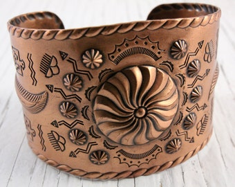 Vintage Copper Cuff Bracelet with Southwest Design (retro 60s 70s native american indian etched repousse big large statement wide)