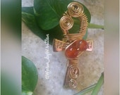 Double Grounded Citrine Stone Ankh Ring
