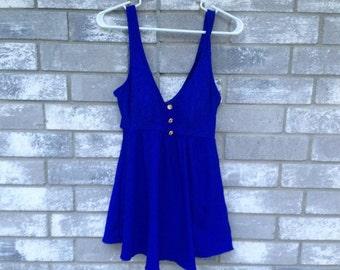 vintage royal blue one piece swim dress