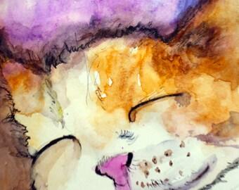 Print of Sleeping Cat,illustration,pet,cats,kitty,cute ,Nursery art deco,Father's day,cat lovers,petportrait