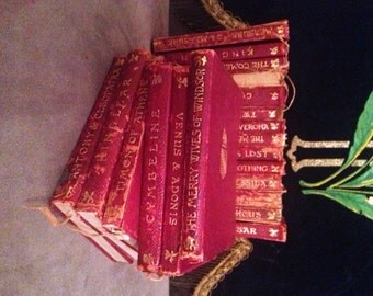 20 Volume The Temple of Shakespeare Red Leatherbound Books 1895 Edinburgh With Hand Inked Plates Gold Embossments