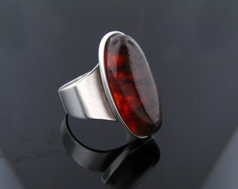 Carl Ove Frydensberg, COF Denmark, Sterling Silver and Amber Ring