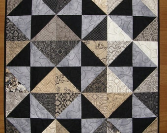 Contemporary Black Gray Quilted Table Topper, Modern Black Gray Taupe Quilted Table Runner,  Gray Black Taupe Table Runner Quilt