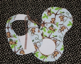 Baby Bib Set/Monkey/Hanging Around Monkey/Baby Burpee