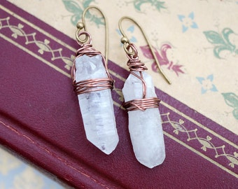 Crystal Quartz Wirewrapped Vintage Brass Earrings Soft White, Modern Everyday Jewelry Simple Boho Gypsy Gift For Her, Earrings