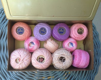 Vintage Violet Candy Tin, 11 Spools of Tatting Thread in Pink and Purple, Louis Sherry New York, Display Prop Decor Collection