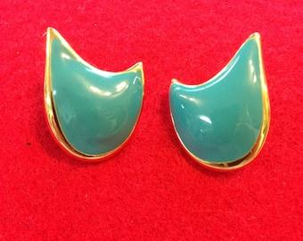 Vintage Teal and Gold Tone Enamel Earrings Posts