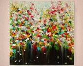 "Acrylic Original Flower Painting, Wall Art Painting by M.Schöneberg ""Colorful flowers rain"" 28x28x0,75 Original Art Home Decor"