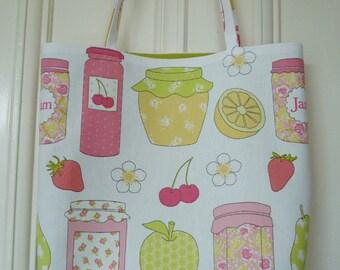 Shopping bag - jam jar print, green lining