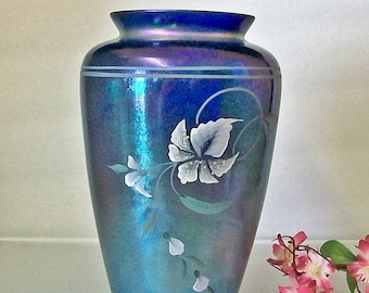 Fenton Blue Favrene Hand Painted Vase