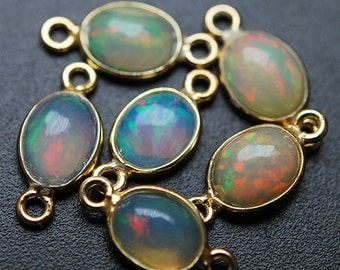 925 Sterling Vermeil Silver,Ethiopian Opal Oval Pendant Connector,6 Piece of 14mm